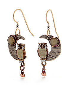 Silver Forest Owl On Crescent Moon Drop Earrings