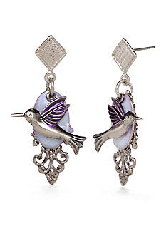 Silver Forest Silver-Tone and Purple Hummingbird Drop Earrings