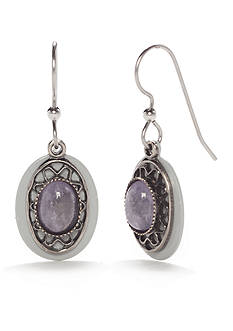 Silver Forest Silver-Tone Purple Stone Drop Earrings