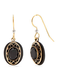 Silver Forest Gold-Tone Black Onyx Oval Drop Earrings