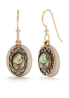 Silver Forest Cream Oval Drop Earrings