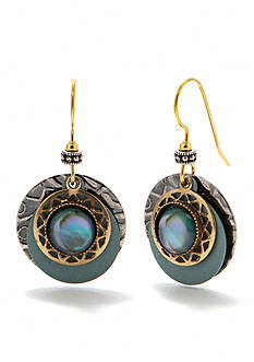 Silver Forest Light Teal Layered Drop Earrings