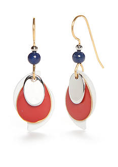 Silver Forest Silver-Tone American Pride Red, White and Blue Teardrop Earrings