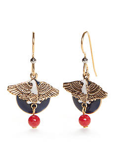 Silver Forest Gold-Tone American Pride Red, White and Blue Eagle Drop Earrings
