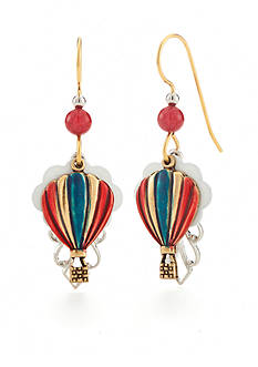 Silver Forest Two-Tone American Pride Red, White and Blue Balloons Drop Earrings