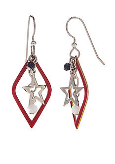 Silver Forest Silver-Tone American Pride Red, White and Blue Star Drop Earrings