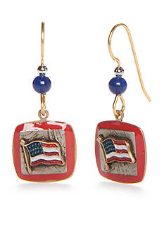 Silver Forest Gold-Tone American Pride Red, White and Blue Square Flag Drop Earrings