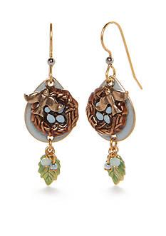 Silver Forest Gold-Tone Enchanted Garden Bird Nest Drop Earrings