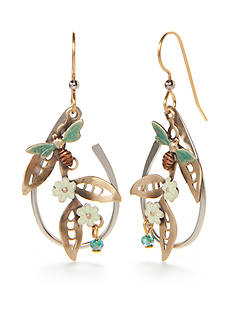 Silver Forest Two-Tone Flower and Bee Drop Earrings