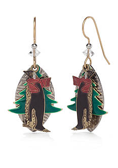 Silver Forest Gold-Tone Whimsical Winter Penguin Earrings