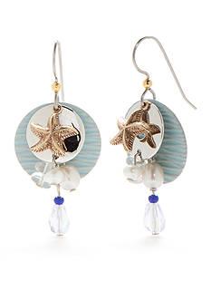 Silver Forest Silver-Tone Sealife Aqua Starfish Chandelier Earrings