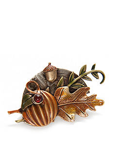 Silver Forest Gold-Tone Pumpkin and Leaves Pin