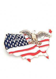 Silver Forest Gold-Tone American Pride Eagle and Red, White and Blue Flag Pin