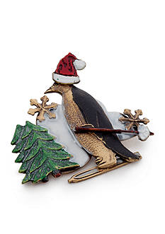 Silver Forest Gold-Tone Whimsical Winter Skiing Penguin and Trees Pendant