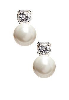Lauren Ralph Lauren Cubic Zirconia White Pearl Clip Earrings