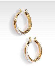 Lauren Ralph Lauren Two Tone Silver and Gold Hoop Earring