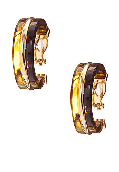 Lauren Ralph Lauren Tortoise Hoop Clip Earrings