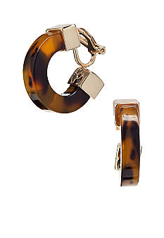 Lauren Ralph Lauren Small Tortoise Hoop Clip Earrings