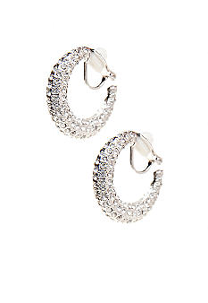 Lauren Ralph Lauren Pave Hoop Clip Earrings