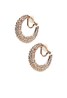 Lauren Ralph Lauren Gold-Tone Pave Clip Hoop Earrings