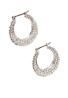 Lauren Ralph Lauren Pave Encrusted Hoop Earrings