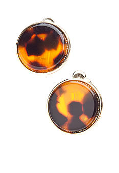 Lauren Ralph Lauren Tortoise Button Clip Earrings