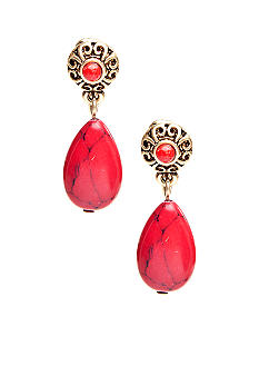 Lauren Ralph Lauren Coral Double Drop Clip Earrings