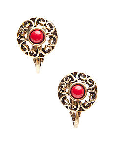 Metal And Coral Clip Earrings