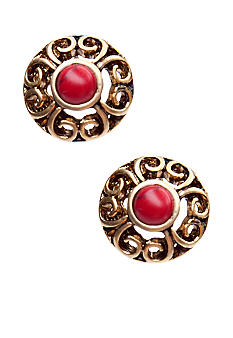 Lauren Ralph Lauren Coral Cabochon Stud Earrings