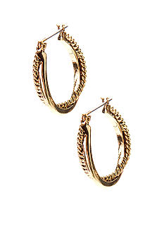 Lauren Ralph Lauren Gold Twisted Link Hoop Earrings