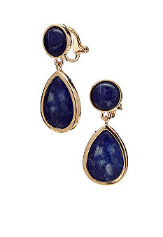 Lauren Ralph Lauren Blue Double Drop Clip Earrings