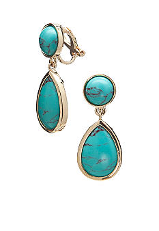 Lauren Ralph Lauren Turquoise Drop Clip Earrings