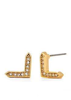Lauren Ralph Lauren V Shape Pave Stud Earrings