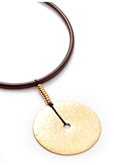 Lauren Ralph Lauren Hammered Disk Pendant Necklace