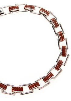 Lauren Ralph Lauren Silver Tone Link With Leather Necklace