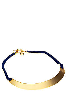 Lauren Ralph Lauren Blue Suede Metal Frontal Necklace