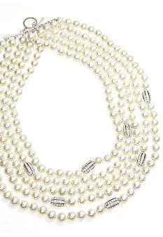 Lauren Ralph Lauren Five Row Pearl And Pave Necklace