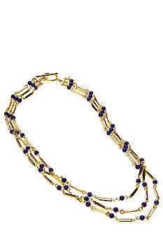 Lauren Ralph Lauren Three Row Blue Bead Necklace
