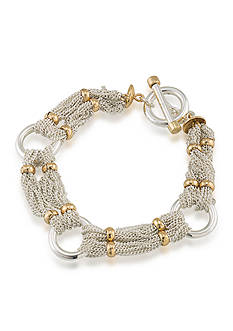 Lauren by Ralph Lauren Back to Basics Two Tone Chain and Ring Bracelet