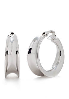 Lauren Ralph Lauren Silver-Tone Concave Hoop Clip Earrings