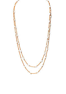 Lauren by Ralph Lauren Gold-Tone Chic Mother of Pearl Beaded Long Necklace