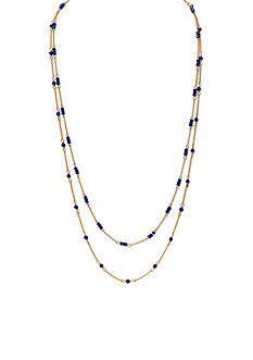 Lauren by Ralph Lauren Gold-Tone Chic Faux Lapis Beaded Long Necklace