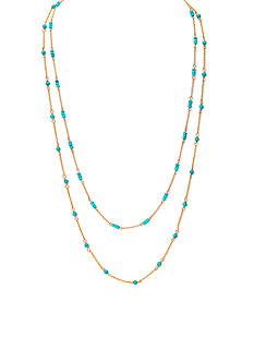 Lauren Ralph Lauren Gold-Tone Chic Faux Turquoise Beaded Necklace