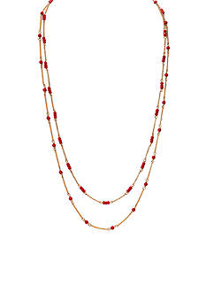 Lauren Ralph Lauren Gold-Tone Chic Coral Beaded Long Necklace