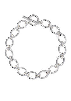 Lauren Ralph Lauren Silver-Tone Fall 16 Icons Oval Link Necklace