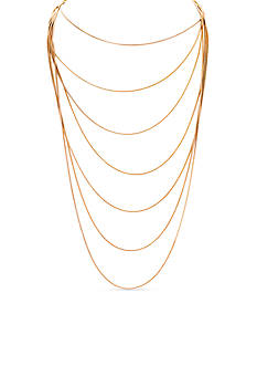 Lauren Ralph Lauren Gold-Tone Fringe Worthy 7 Row Necklace