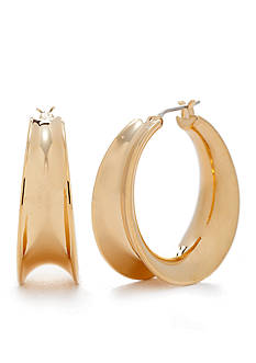 Lauren Ralph Lauren Gold-Tone Concave Hoop Earrings