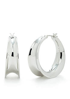 Lauren Ralph Lauren Silver-Tone Concave Hoop Earrings