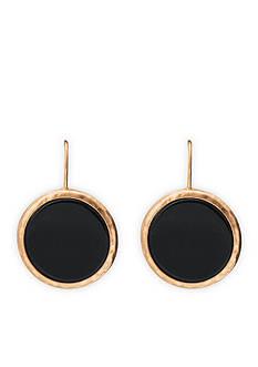 Lauren Ralph Lauren Gold-Tone Chic Black Disc Drop Earrings