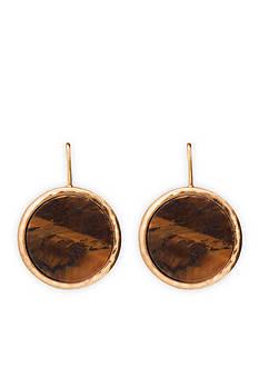 Lauren Ralph Lauren Gold-Tone Chic Tiger's Eye Disc Drop Earrings